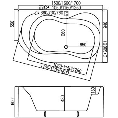 Akrilinė asimetrinė vonia KYMA Neringa 1600x940mm 3