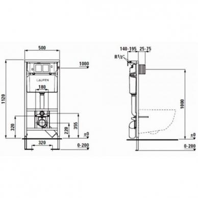 Laufen WC rėmas ir Pro New Rimless pakabinamas klozetas su lėtai nusileidžiančiu plonu dangčiu 4