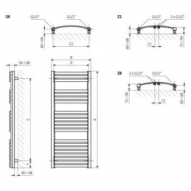 Rankšluosčių džiovintuvas Terma DEXTER 1220x500mm, dažytas 5