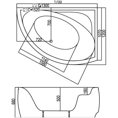 Akrilinė asimetrinė vonia KYMA Nida 1700x1200mm 2