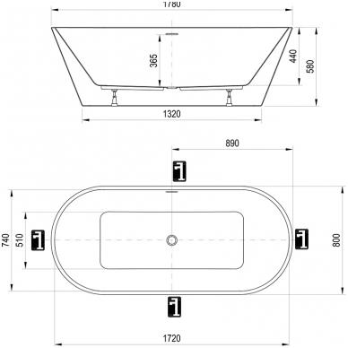 Akrilinė laisvai statoma vonia Ravak Solo 1780x800mm 4