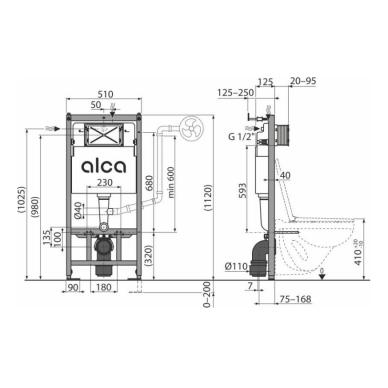 Alca Plast potinkinis WC rėmas AM101/1120 2