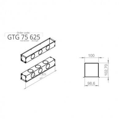 """Berėmis plyšinis difuzorius """"LINE"""" ilgis 0,625m., 18mm pločio plyšys 4"""