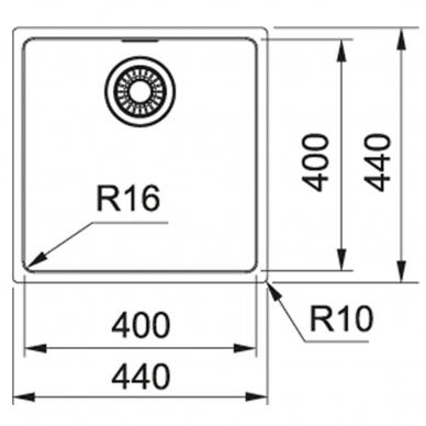 Franke nerūdijančio plieno plautuvė MRX 110-40 44x44cm 2