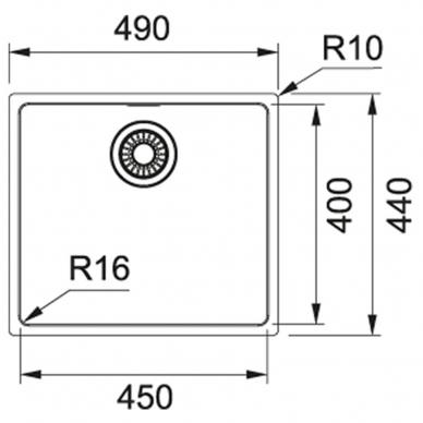 Franke nerūdijančio plieno plautuvė MRX 110-45 49x44cm 2