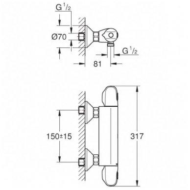 Grohe termostatinis maišytuvas dušui Grohetherm 1000 34143003 3
