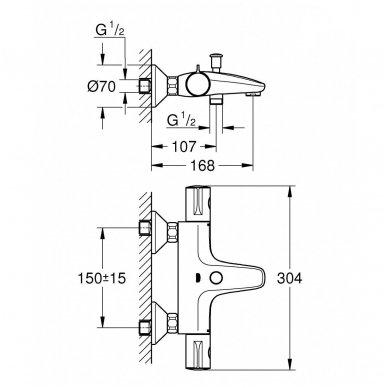 Grohe termostatinis maišytuvas voniai/dušui Grohetherm 800 34567000 2