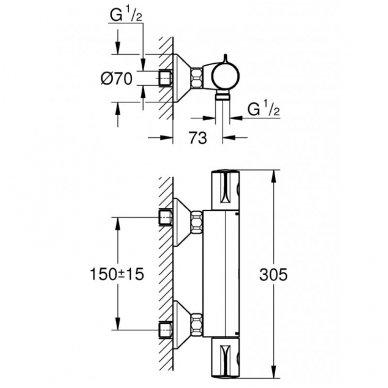 Grohe termostatinis maišytuvas dušui Grohetherm 800 34558000 2