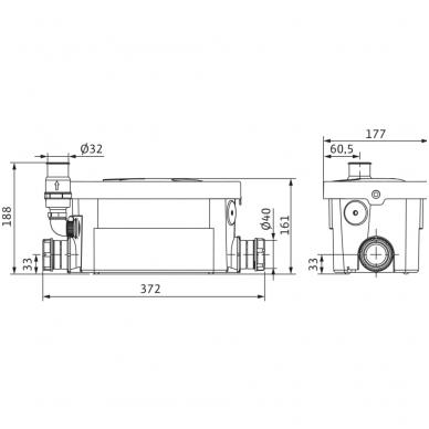 Wilo buitinis nefekalinių nuotekų perpumpavimo įrenginis HiDrainlift 3-24 2