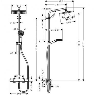 Hansgrohe dušo sistema Crometta E 240 1jet 27271000 2