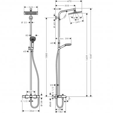Hansgrohe dušo sistema Crometta E 240 1jet 27298000 3
