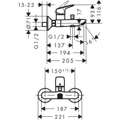 Hansgrohe maišytuvas voniai Logis 2