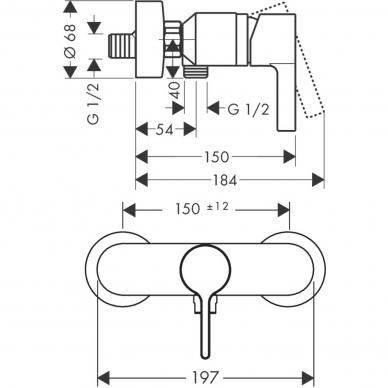 Hansgrohe maišytuvas dušui Metris S 31660000 2