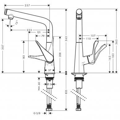 Hansgrohe maišytuvas plautuvei Metris Select M71 320, 14883000 4