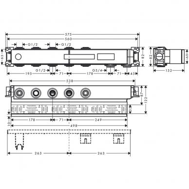 Hansgrohe potinkinė dalis RainSelect Basic set 3-jų fukcijų 15311180 2