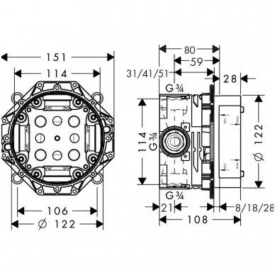 Hansgrohe potinkinio maišytuvo dalis iBox universal 2