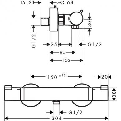 Hansgrohe termostatinis dušo maišytuvas Ecostat Comfort 13116990 2