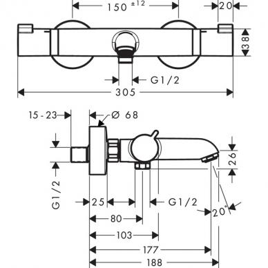 Hansgrohe termostatinis vonios maišytuvas Ecostat Comfort 13114990 2