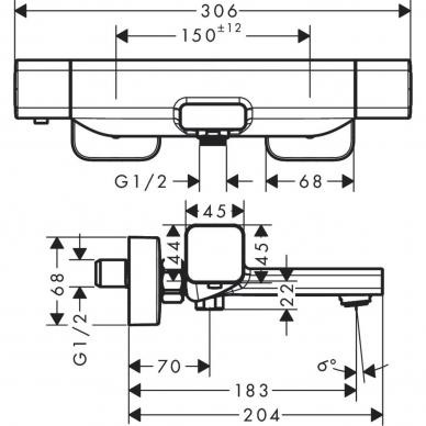 Hansgrohe termostatinis vonios maišytuvas Ecostat E 15774000 3