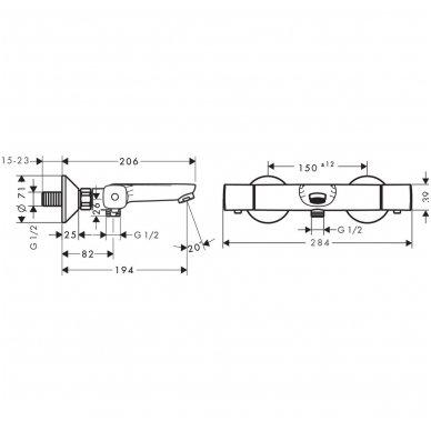 Hansgrohe termostatinis vonios maišytuvas Ecostat Universal 13123000 2
