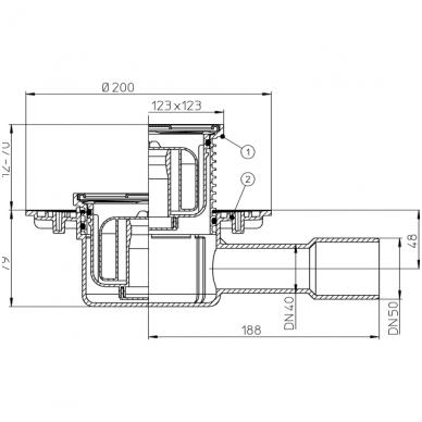 HL510NPr sausas trapas su nerūd.plieno grotelėmis, horizontalus Dn50/40 2