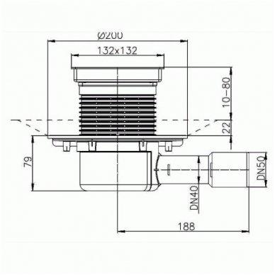 HL510NPr-3020 sausas trapas su grotelėmis plytelei įklijuoti, vertikalus Dn50/40 2