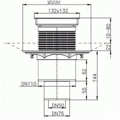 HL310NPr-3020 sausas trapas su grotelėmis plytelei įklijuoti, vertikalus Dn110/50 2
