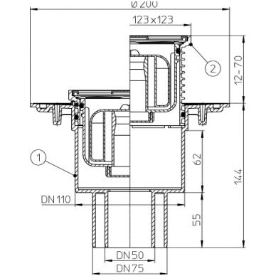 HL310NPr sausas trapas su nerūd.plieno grotelėmis, vertikalus Dn110/50 2