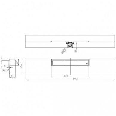 HL531-0 dušo latakas 498x68x13mm, montuojamas prie sienos 2