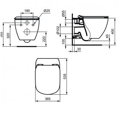 Ideal Standard pakabinamas unitazas TESI AquaBlade® su lėtai nusileidžiančiu dangčiu 3