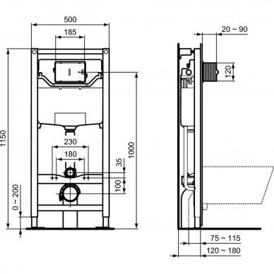 Ideal Standard WC rėmas ir Connect Air pakabinamas klozetas su Soft Close dangčiu 3