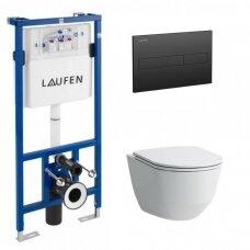 Laufen WC rėmas ir Pro New Rimless pakabinamas klozetas su lėtai nusileidžiančiu plonu dangčiu