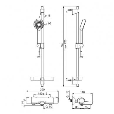 Oras Nova 7414U termostatinis vonios ir dušo maišytuvas su dušo komplektu 2