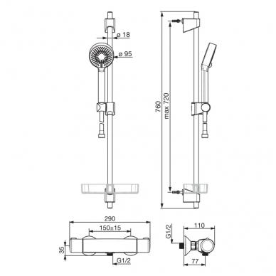 Oras Nova 7413U termostatinis dušo maišytuvas su dušo komplektu 2