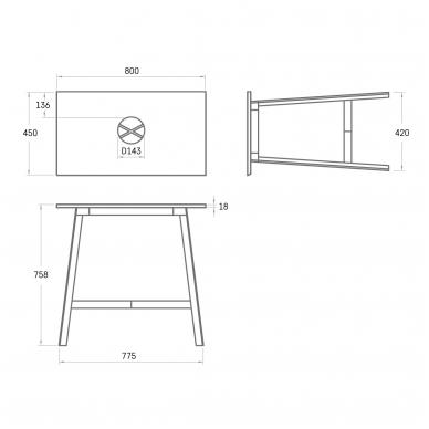 PAA DECO MF 450 metalinės kojelės su SilkSTONE® stalviršiu 800x450mm 2