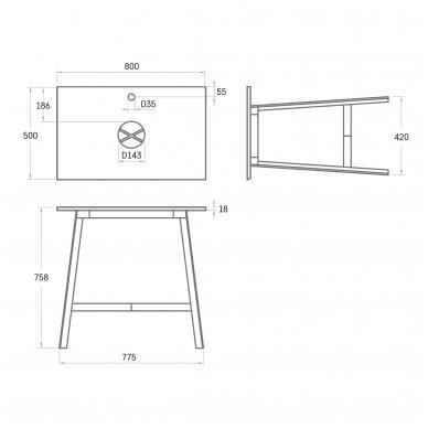 PAA DECO MF 500 metalinės kojelės su SilkSTONE® stalviršiu 800x500mm 2