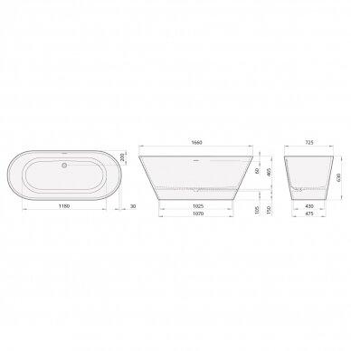 PAA Silkstone vonia DECO NUDO Graphite 1660x725mm 3