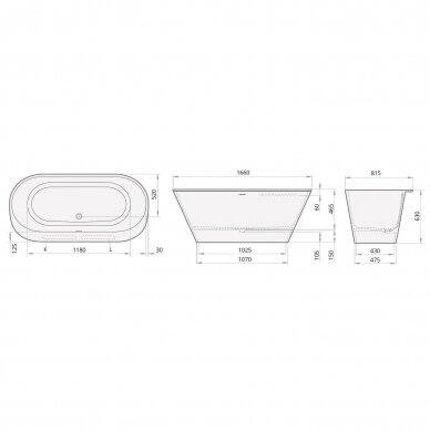 PAA Silkstone vonia DECO RIM Graphite 1660x815mm 3