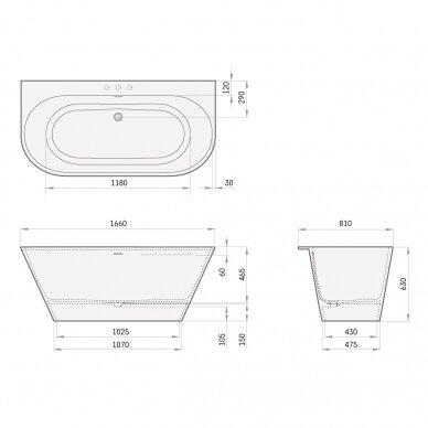 PAA Silkstone vonia DECO WALL Graphite 1660x810mm 3