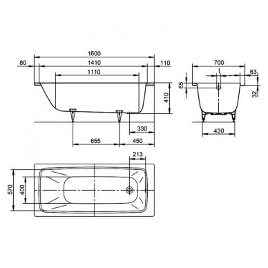 Plieninė vonia Kaldewei Cayono 160x70cm 3