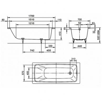 Plieninė vonia Kaldewei Cayono 170x70cm 3