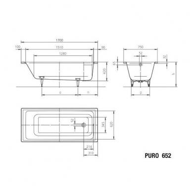 Plieninė vonia Kaldewei Puro 170x75cm su perlo efektu ir garso izoliacija 2