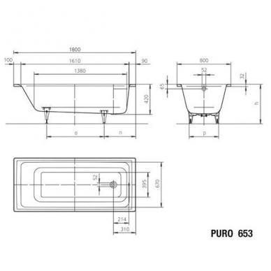Plieninė vonia Kaldewei Puro 180x80cm su perlo efektu ir garso izoliacija 2