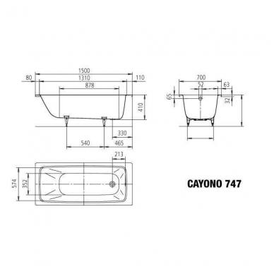 Plieninė vonia Kaldewei Cayono 150x70cm 3