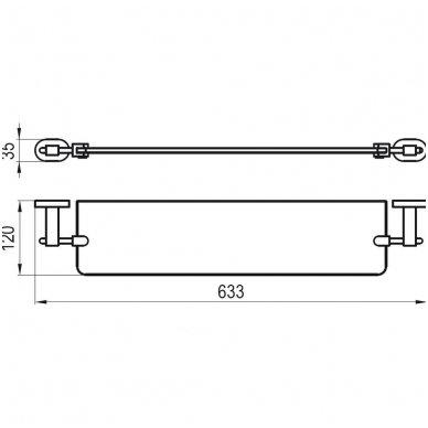 Ravak Chrome stiklinė lentynėlė 64cm CR 500.00 2