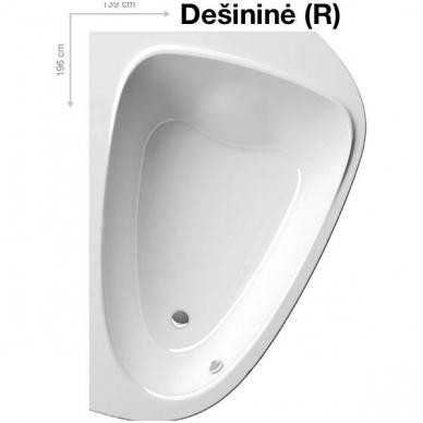 Ravak asimetrinė akrilinė vonia LoveStory II 196x139cm 2