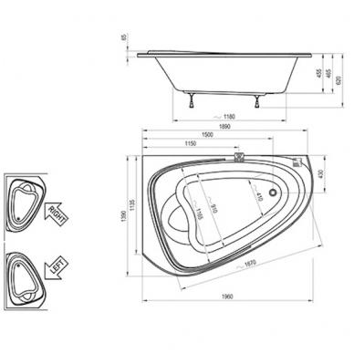 Ravak asimetrinė akrilinė vonia LoveStory II 196x139cm 4