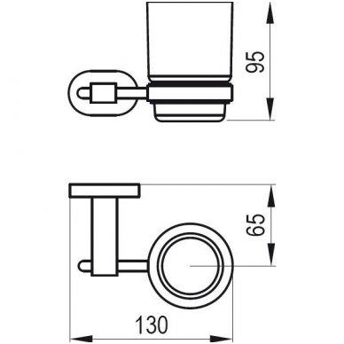 Ravak Chrome laikiklis su stikline (matinis stiklas) CR 210.00 2