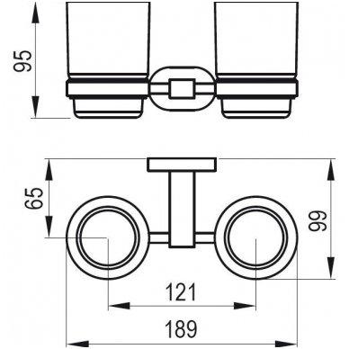 Ravak Chrome laikiklis su dviejomis stiklinėmis (matinis stiklas) CR 220.00 2