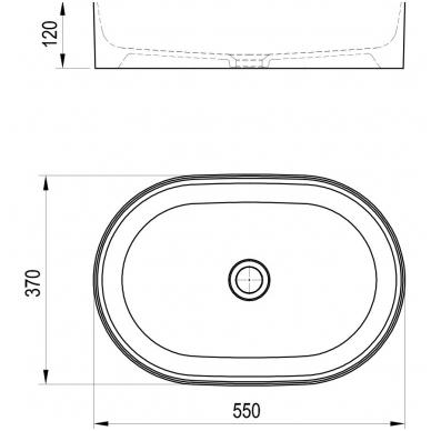 Ravak keraminis praustuvas Ceramic Slim O 55x37cm 4